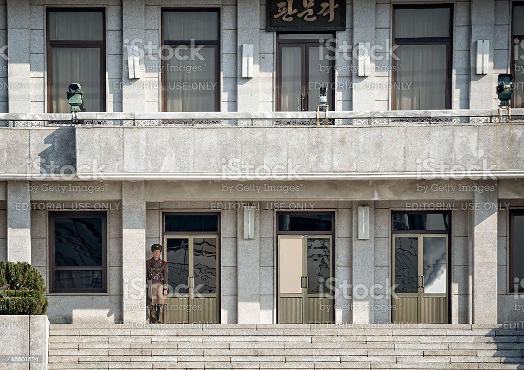 North Korean Soldier at JSA stock photo