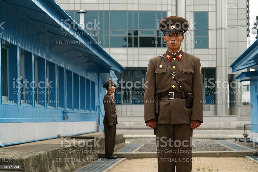 North Korean Soldiers at Panmunjom stock photo