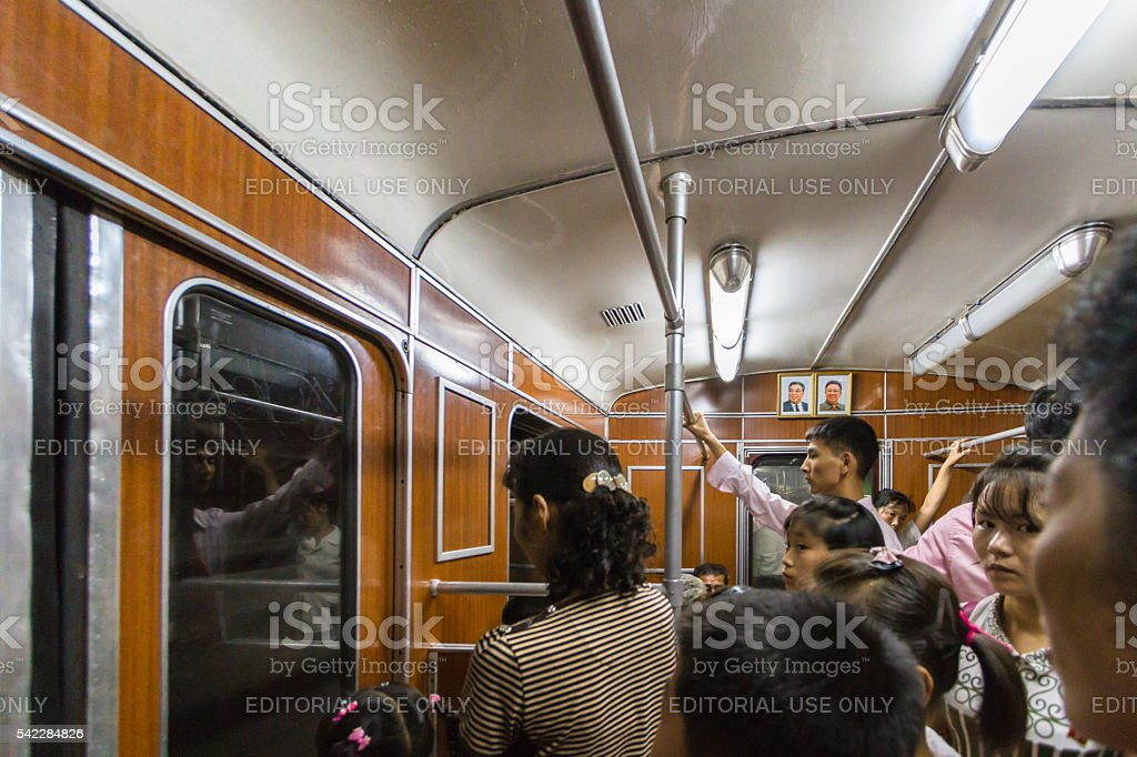 North Korean subway train in Pyongyang stock photo