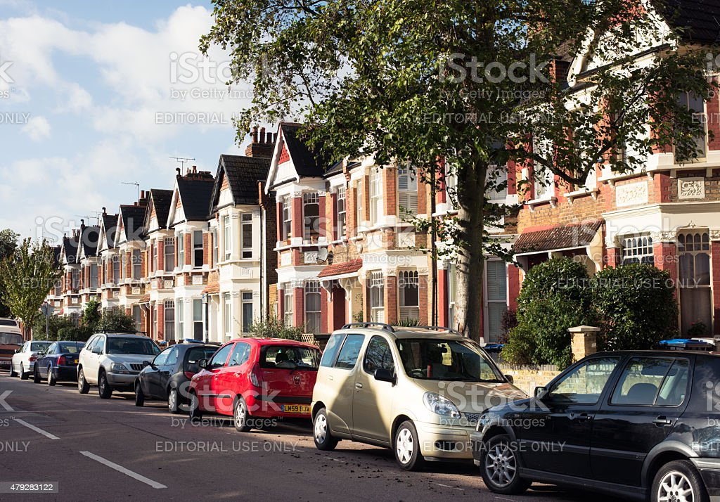 North London Residential Street stock photo