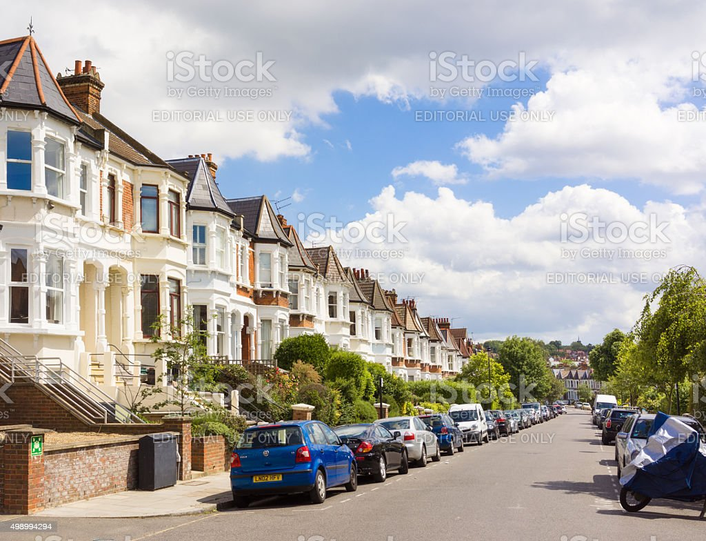 North London residential street - West Hampstead stock photo
