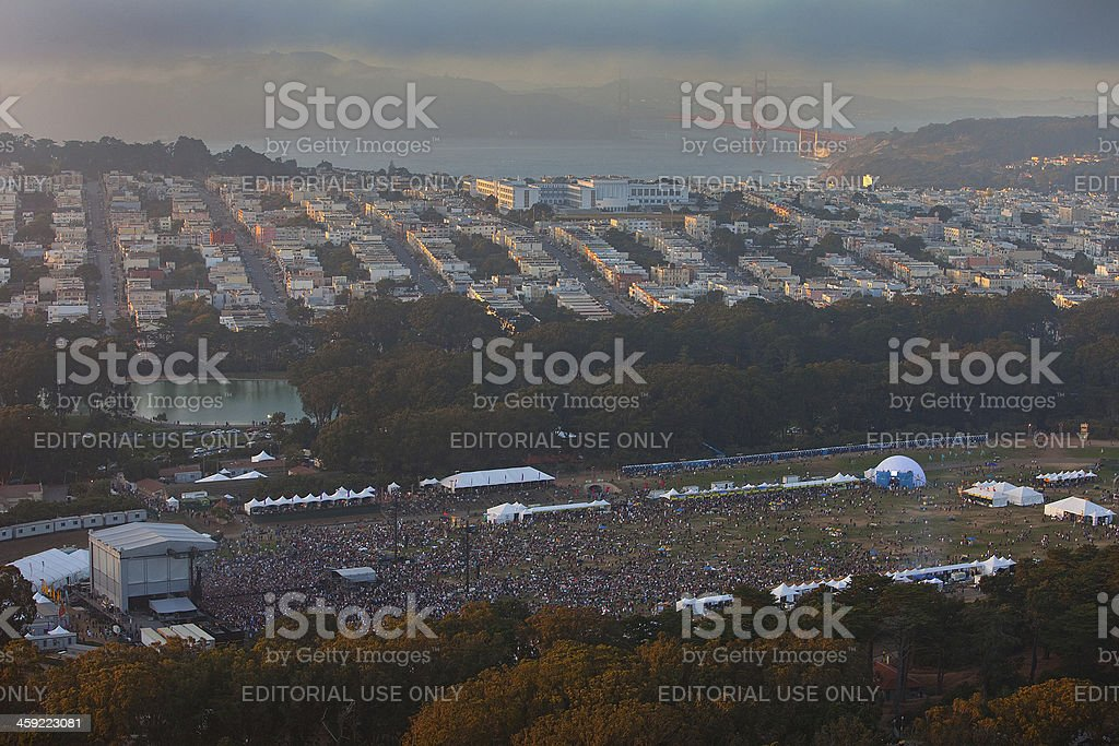 North looking aerial view of Outside Lands Music Festival royalty-free stock photo