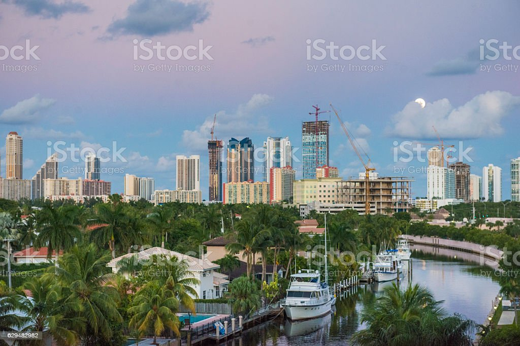North Miami Beach Dusk View of Tropical Sunny Isles Florida stock photo