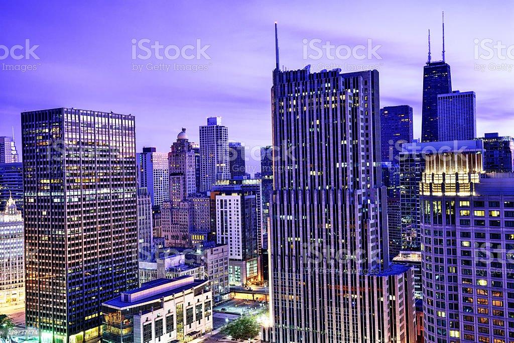 North Michigan Avenue skyscrapers at dawn, downtown Chicago stock photo