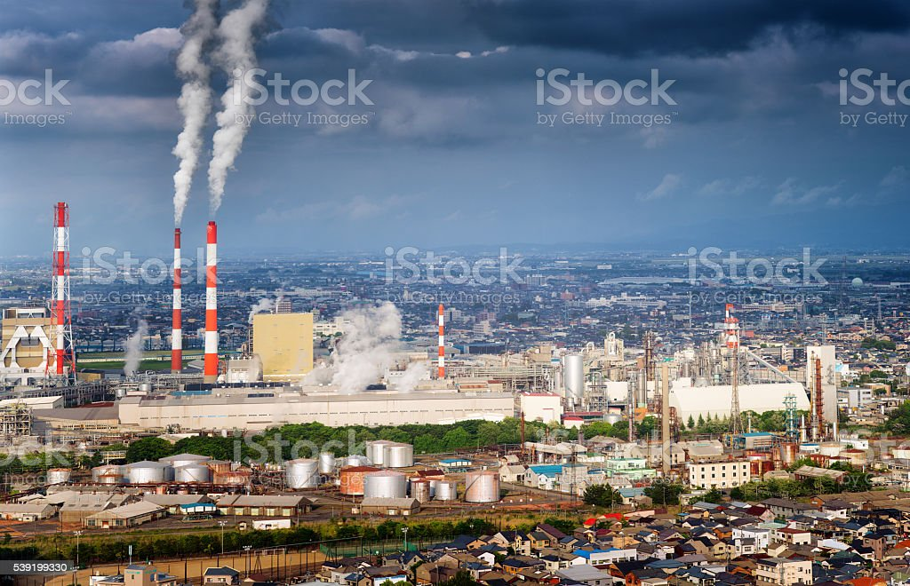 North Niigata industrial aerial cityscape featuring paper plant stock photo