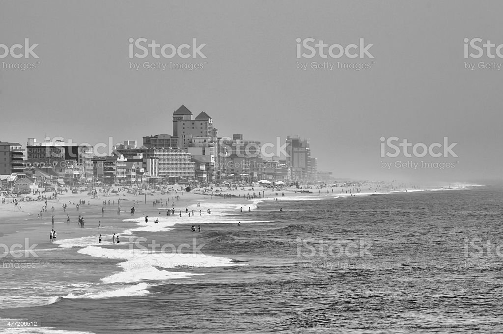 North Ocean City Beach In Black and White stock photo