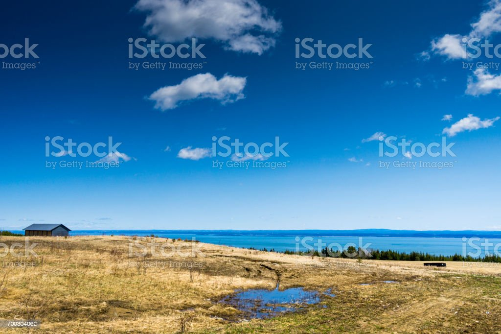 North of La Malbaie, a view at the beautiful nature of Charlevoix and St.Lawrence river, in the province of Quebec. stock photo