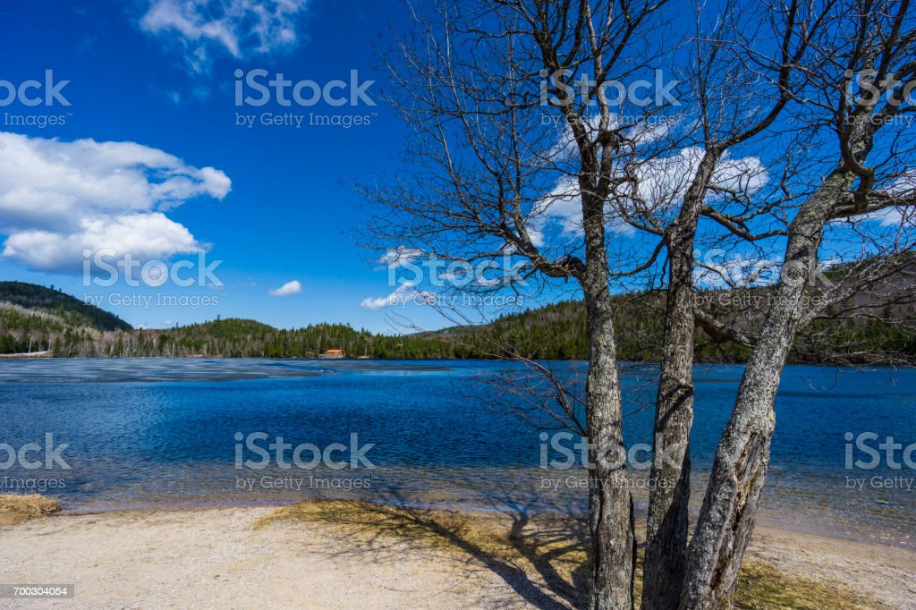 North of La Malbaie, a view at the beautiful nature of Charlevoix, in the province of Quebec. stock photo