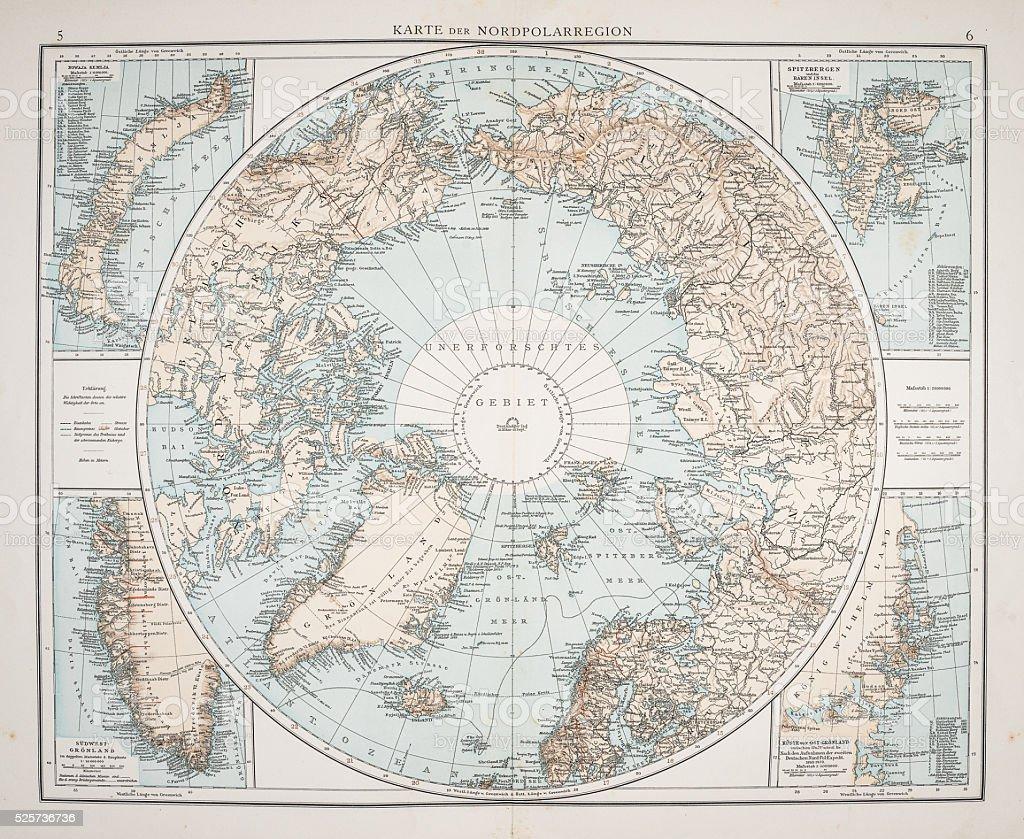 North Polar Chart 1895 stock photo