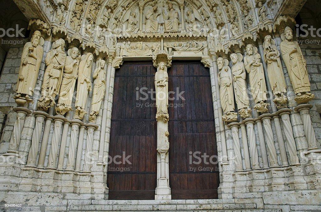 North Portal de la cathédrale Notre-Dame, en France photo libre de droits
