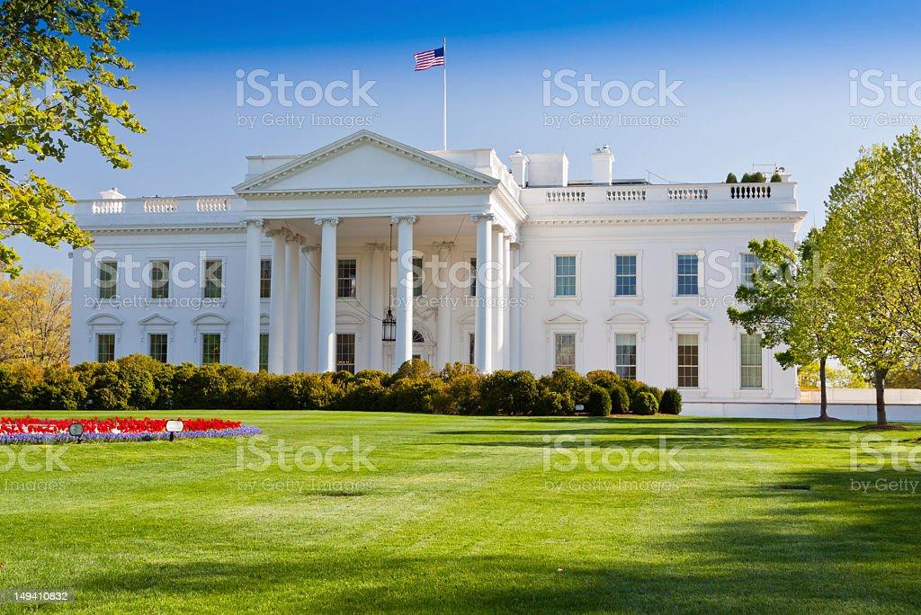 North Portico of the White House, Washington DC. Blue sky. royalty-free stock photo
