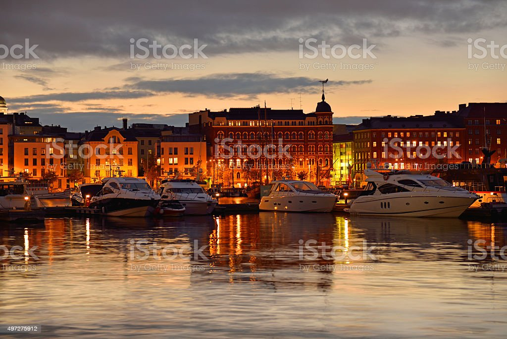 North Quay in night Helsinki, Finland stock photo
