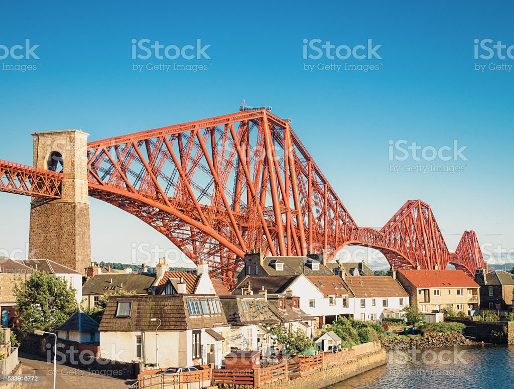 North Queensferry and the Forth Rail Bridge stock photo
