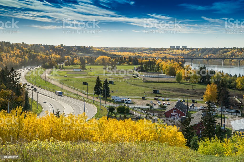North Saskatchewan River valley view, Edmonton, Alberta stock photo