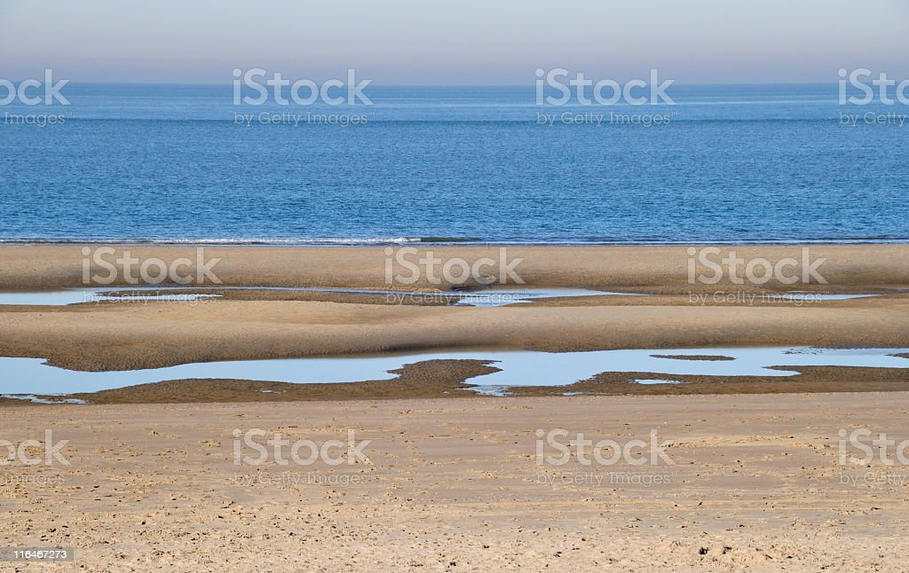 North Sea beach at low tide royalty-free stock photo