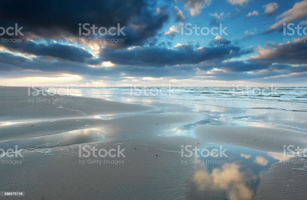 North sea beach at low tide stock photo