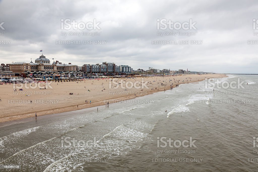 North Sea beach in Scheveningen, Holland stock photo