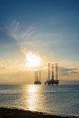 North Sea Oil Platform at Sunset, Cromarty Firth, Scotland