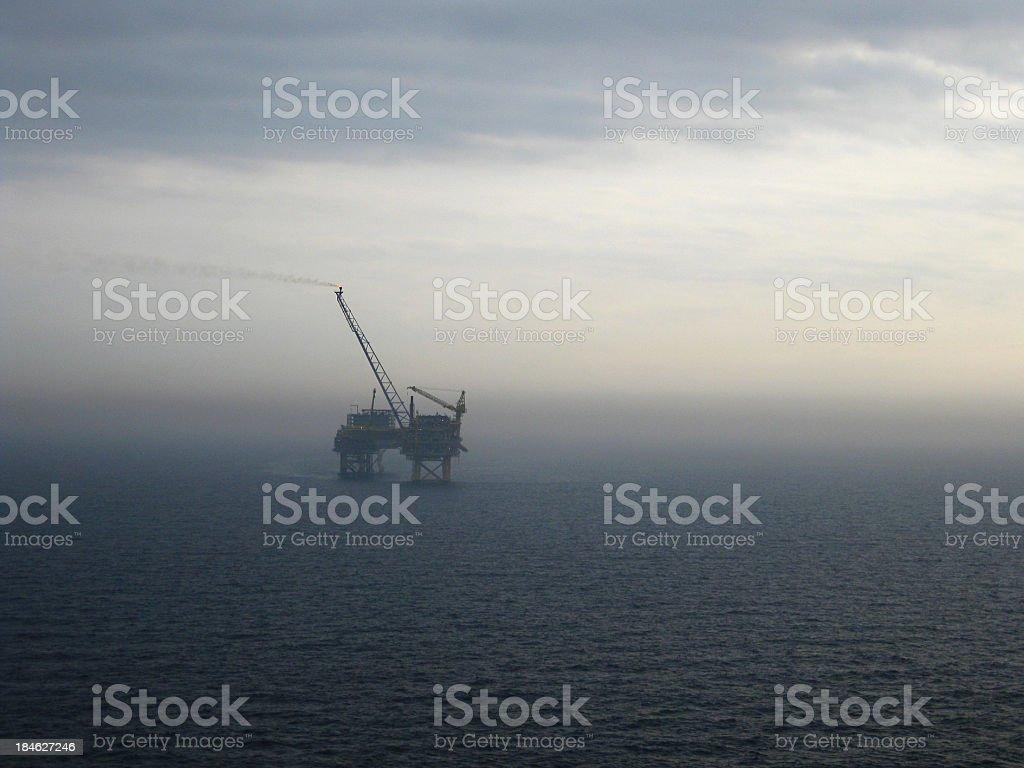 North Sea Oilrig grey dawn royalty-free stock photo