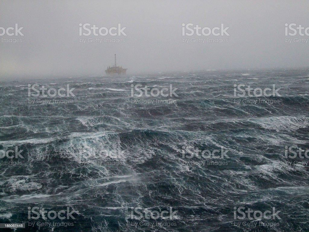 North Sea Oilrig Storm stock photo