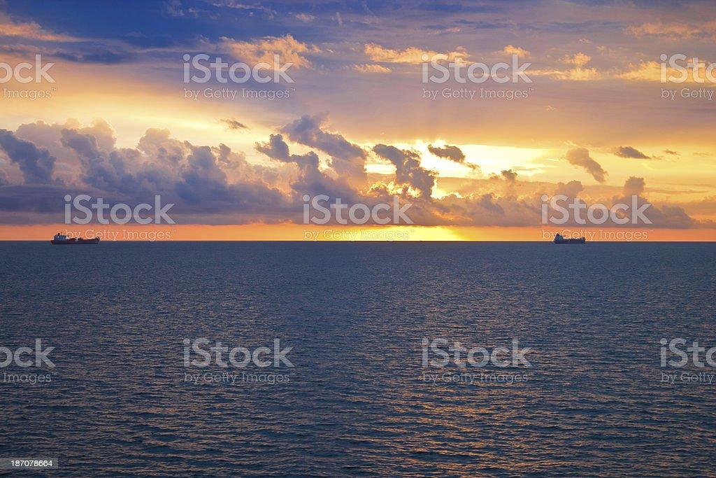 North Sea sunset royalty-free stock photo