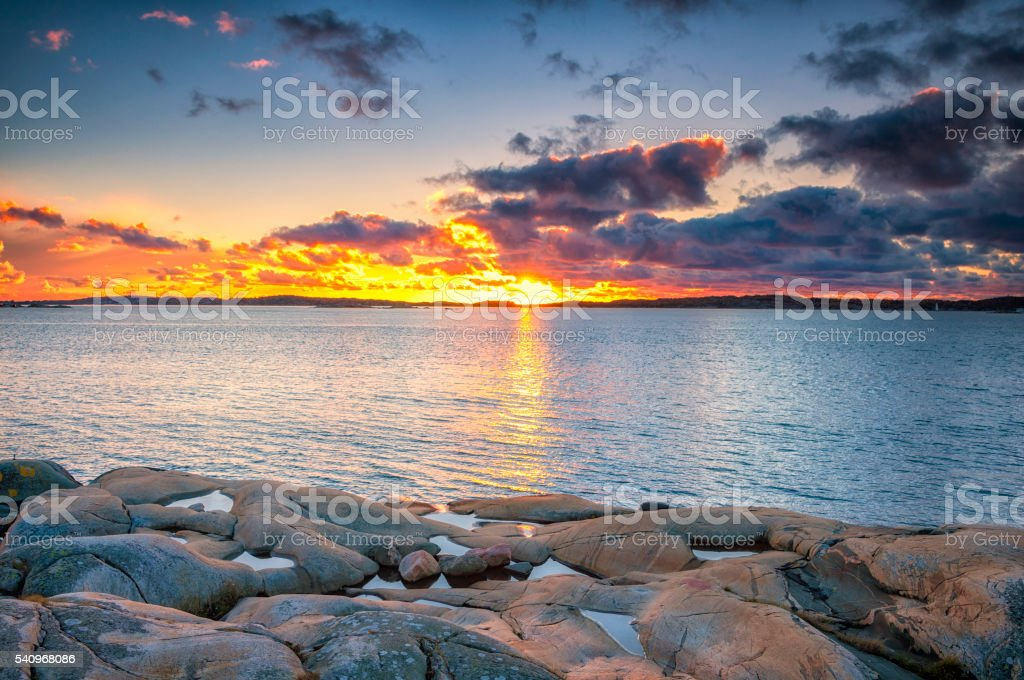 North sea sunset stock photo