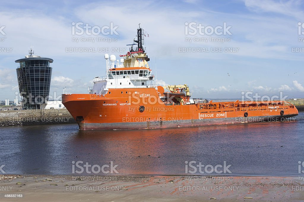 North Sea Supply Normand Neptun at Aberdeen Harbour stock photo