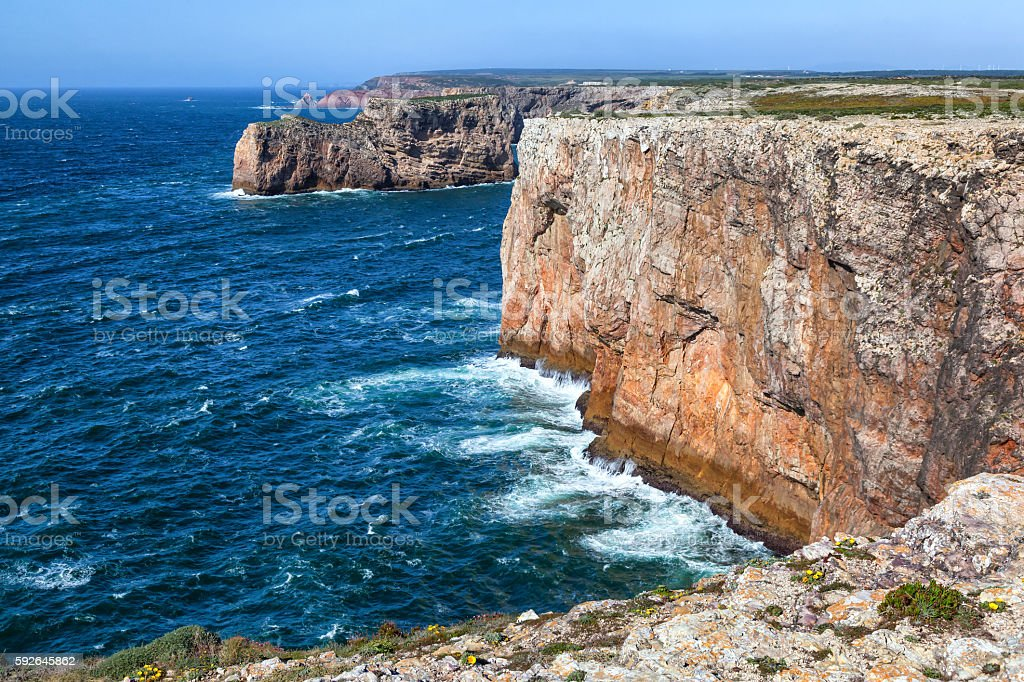 North shore of Cape St.Vincent, Sagres, Portugal stock photo