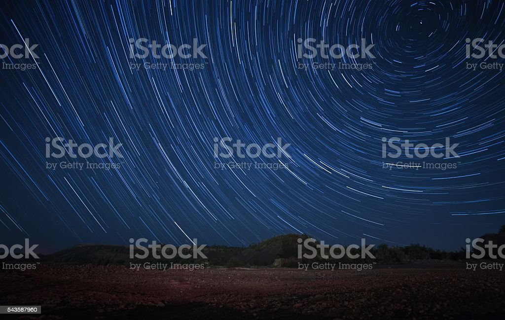 North Star above the quarry. star-trails. stock photo