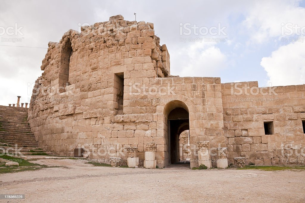 north theater in ancient jerash, jordan stock photo