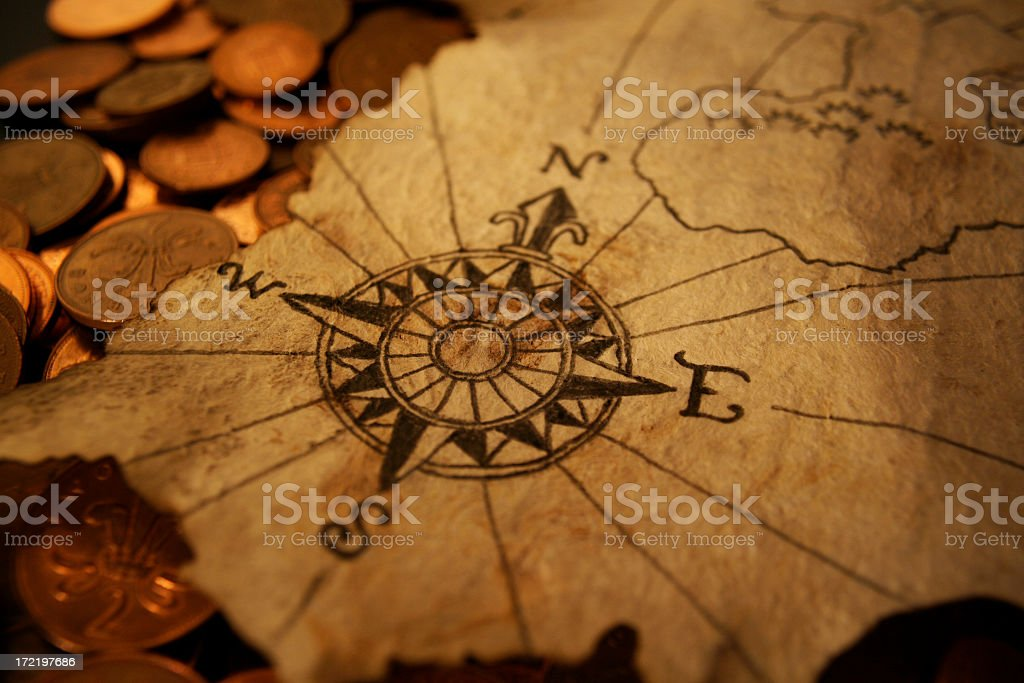 North to buried treasure stock photo