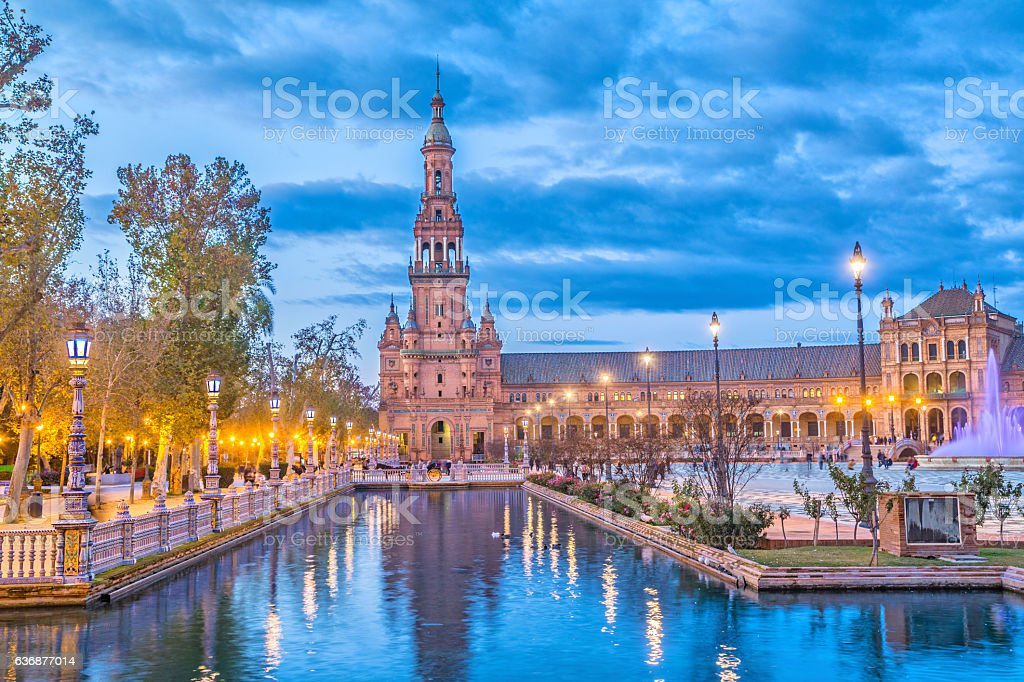 North tower on Plaza de Espana, Seville stock photo