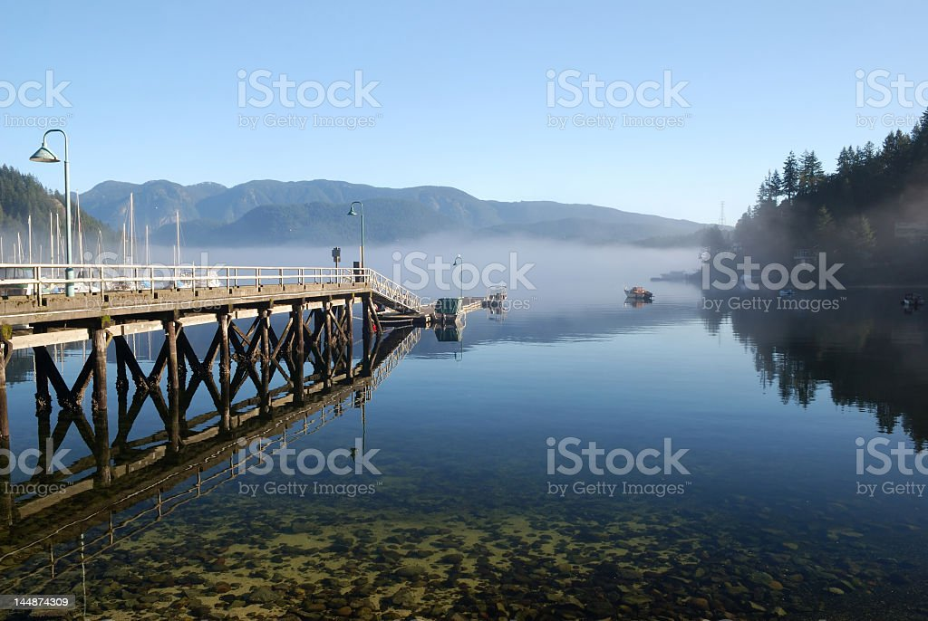North Vancouver with a bridge on water with reflection royalty-free stock photo