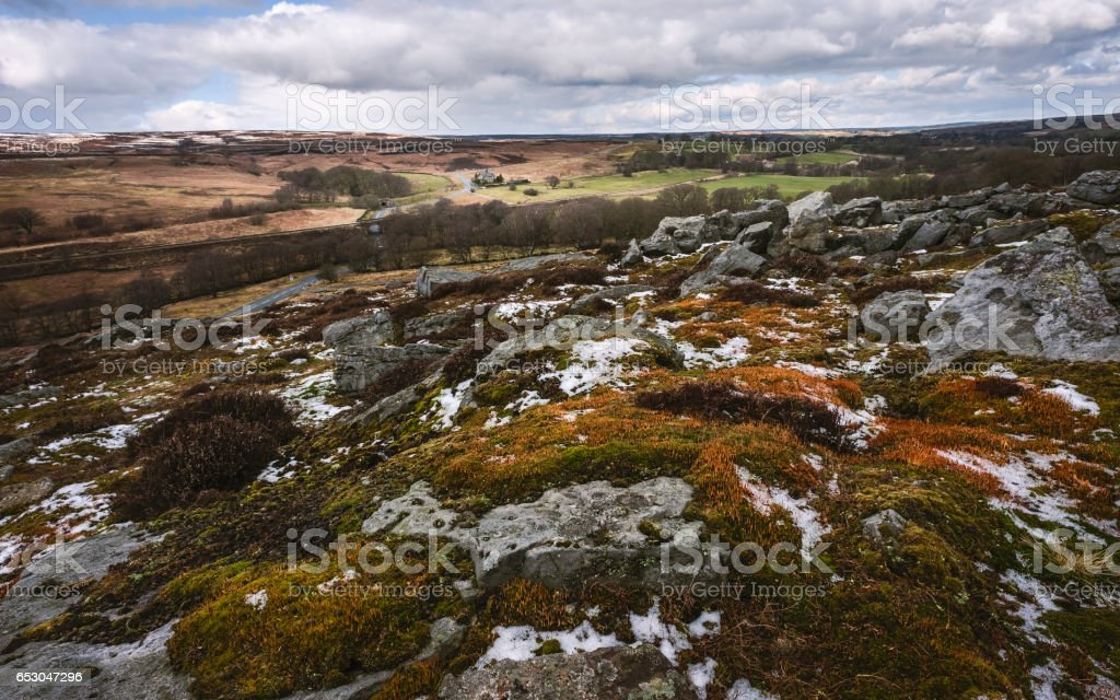 North York Moors in spring and isolated farmhouse, Yorkshire, UK. stock photo