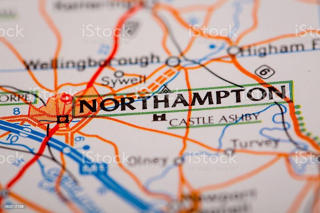Northampton City on a Road Map stock photo