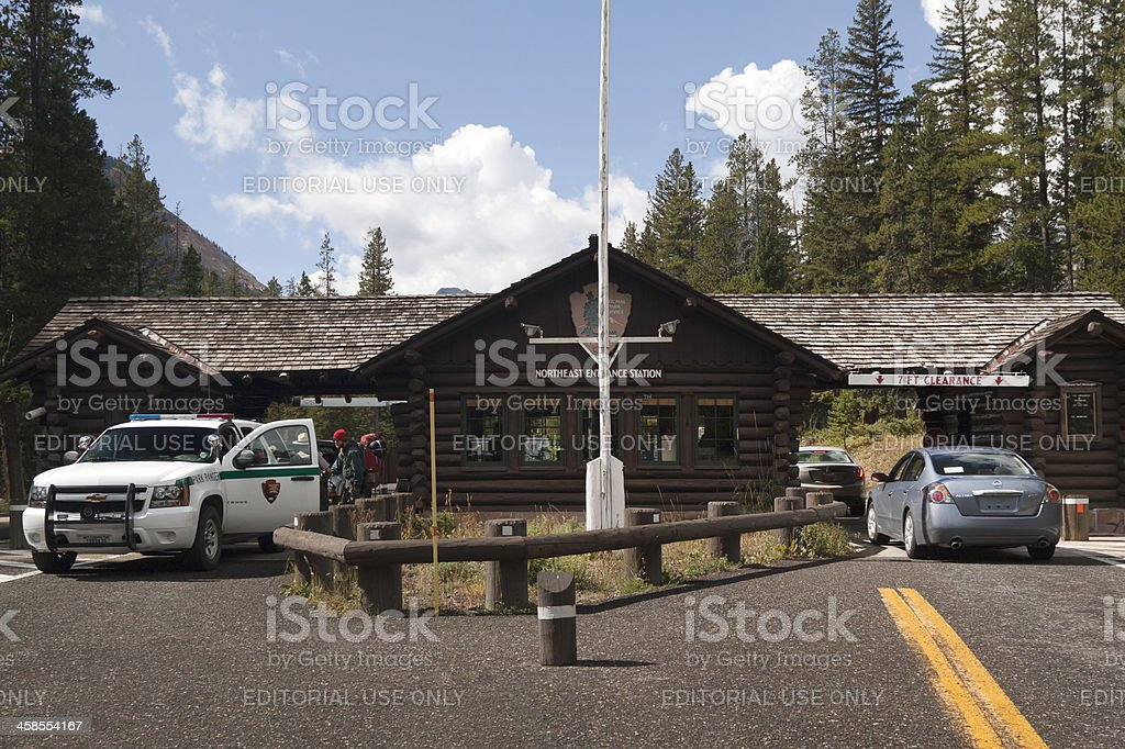 Northeast Entrance Station of Yellowstone stock photo