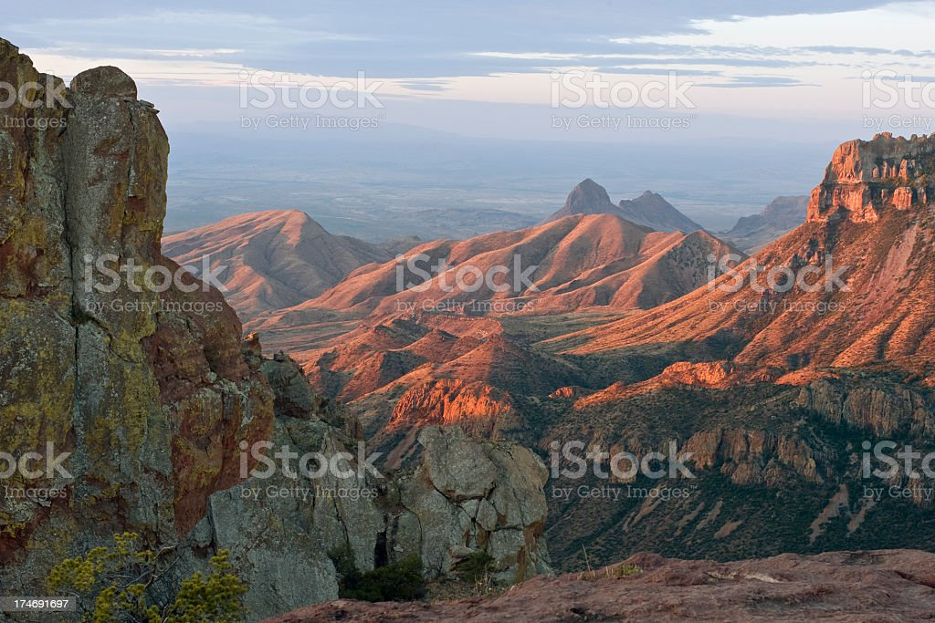 Northeast rim of Chisos Mountains at Big Bend National Park stock photo