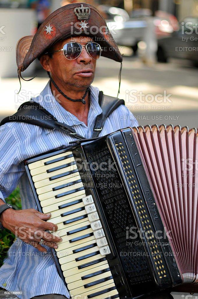 Northeastern accordionist stock photo