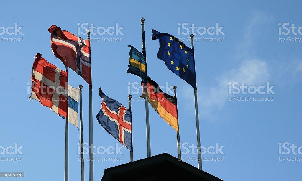 Northen european flags royalty-free stock photo