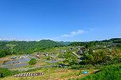 Northern Alps and village in Nagano, Japan