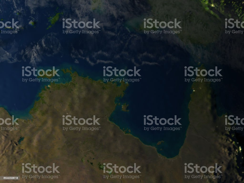 Northern Australia at night on planet Earth stock photo