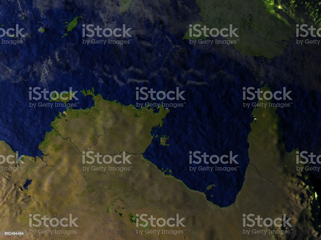 Northern Australia on realistic model of Earth stock photo