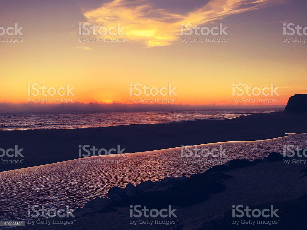 Northern California coastline sunset stock photo