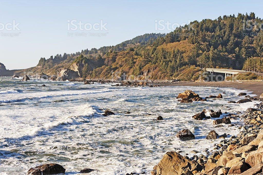 Northern California Coastline with Bridge royalty-free stock photo