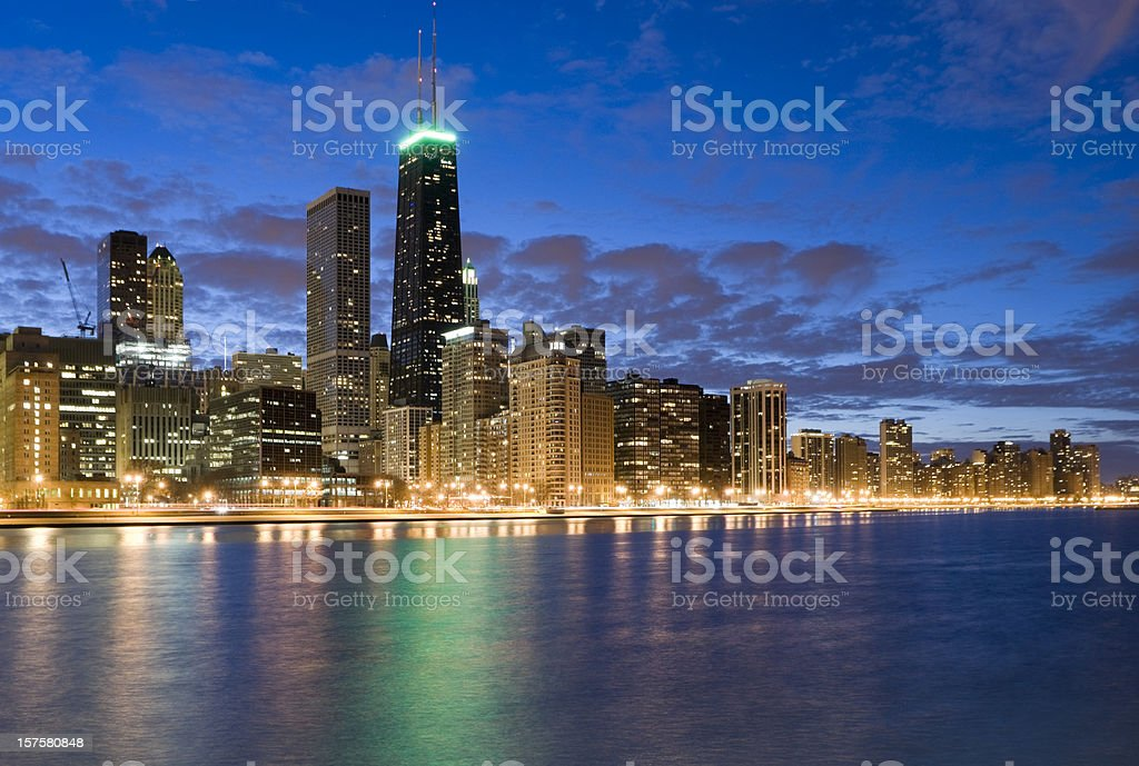 Northern Chicago Skyline at Dusk royalty-free stock photo
