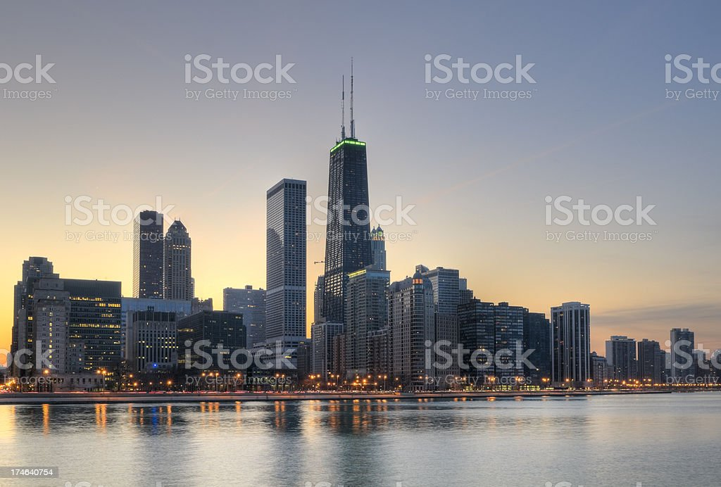 Northern Chicago Skyline at Sunset stock photo