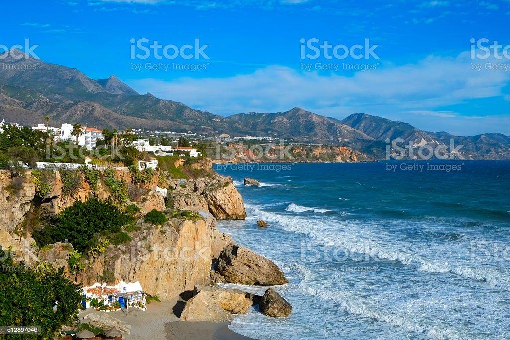 northern coast of Nerja, in Spain stock photo