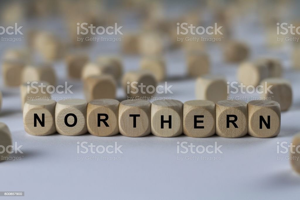 northern - cube with letters, sign with wooden cubes stock photo