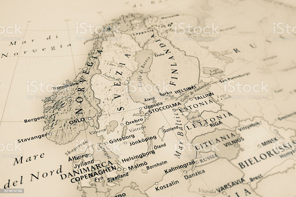 Northern Europe map stock photo