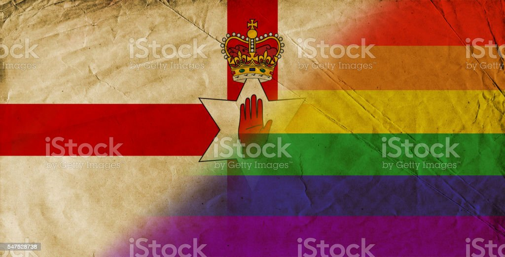 Northern Ireland and Gay Pride Rainbow Flag stock photo